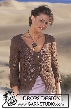 95-21 Cardigan knitted in lace pattern with Silke-Tweed by DROPS design