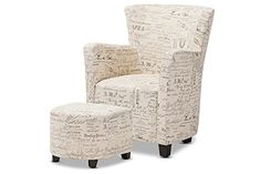 Baxton Studio Benson French Script Patterned Fabric Club Chair and Ottoman Set Affordable modern furniture in Chicago, classic living room…