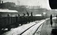 Snow and train (quite an old image of Katoomba Station Blue Mountains ) This photo taken on the platform headed toward Lithgow  The closest date from observation is stated to be 1950's era