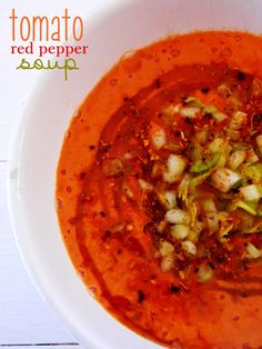 Raw on $10 a Day (or Less!): Tomato Red Pepper Soup ~ a Raw Food Recipe - Can't wait to try this one.