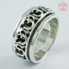 Sz 6 US, ॐ DESIGN  925 STERLING SILVER SPINNER RING, R4643 #SilvexImagesIndiaPvtLtd #Spinner #AllOccasions