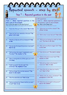 Reported speech step by step * Step 7 * Reported questions in the past * key included worksheet - Free ESL printable worksheets made by teachers Grammar Help, Teaching English Grammar, English Language Learners, Grammar Rules, Printable Worksheets, Grammar Worksheets, Direct And Indirect Speech, Speak Language, Reported Speech