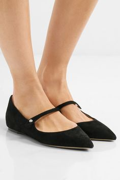 Tabitha Simmons - Hermione Suede Point-toe Flats - Black - IT37.5
