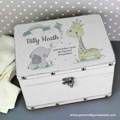 This stunning Hessian Friends Leather Keepsake Box is a perfect way of storing precious memories of a little one's first years. The keepsake box can be personalised with a name up to 12 characters and a message over 3 lines with up to 20 characters per line. Please note that all text will appear as entered. Please avoid entering your message in block capitals as this may result in the personalisation being difficult to read. The box has a leather effect finish and features metal studs along…