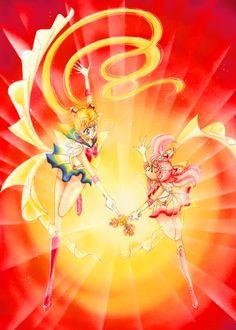 Manga. Sailor Moon and Sailor Chibi-Moon.