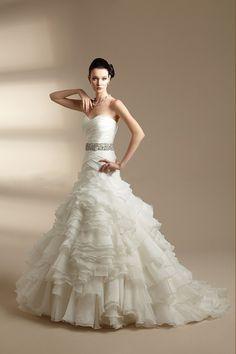 2014 Sweetheart Sheath/Column Wedding Dress Beaded Waistline Ruched Bodice With Tiered Organza Skirt
