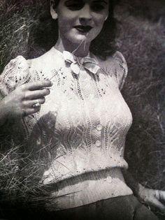 Items similar to Miss Scarlett - Fashion- lace Blouse- Australian knitting ePattern pretty pretty on Etsy - Vintage Knitting, Lace Knitting, Vintage Crochet, 1940s Fashion, Vintage Fashion, Vintage Outfits, Vintage Patterns, Knitting Patterns, Knitting Designs