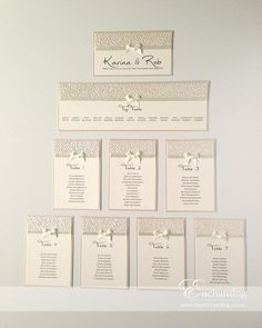 Ivory Wedding Stationery - Table Plan with Bows