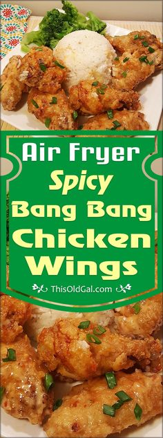 Air Fryer Spicy Bang Bang Chicken Wings have a wonderful crunch and are drenched in a creamy, sweet, yet spicy, chili sauce. via @thisoldgalcooks