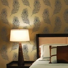 Nice Feathered Damask Wall Stencil Peacock Feather Stencil Pattern For Walls Peacock Wallpaper regarding Nice Feathered Damask Wall Stencil