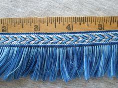 """Boho Blue Chevron Ribbon Brush Fringe trim 1.5"""" wide BTY 1"""" fringe width retro yards yardage craft costume blue shades by kabooco on Etsy"""