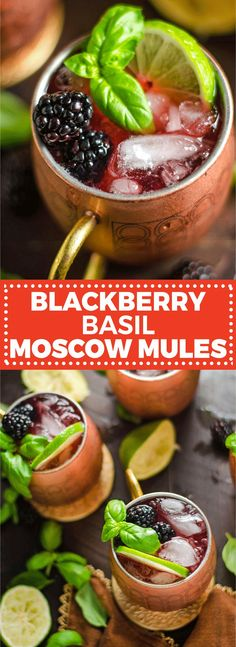 Blackberry Basil Moscow Mules. If you're a Moscow Mule fan, you're going to love this vibrant, simple spin on the popular cocktail! |