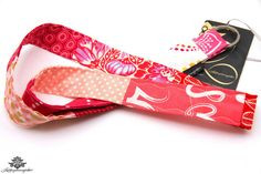 Patchwork-Schlüsselband in rosa, apricot und pink - Ein Einzelstück zum Verlieben!