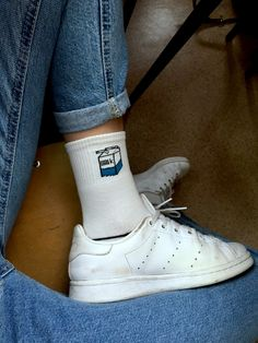 Funny socks / Stan smith adidas / Korean fashion / mom jeans / milk