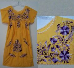 Embroidered Butterflies Yellow Mexican Hippie Dress S | eBay