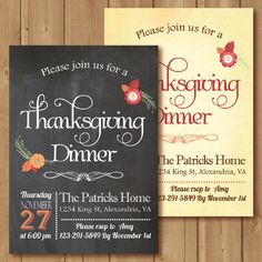 Thanksgiving invitation. Printable by Alapipetuadesign on Etsy