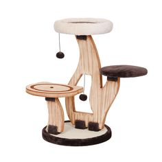 Lily Pad - Natural Wood Three Level Cat Tree with Perches