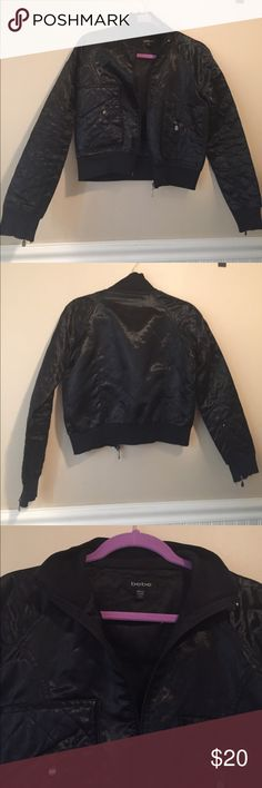 BEBE Black satin quilted jacket Really cute black satin quilted jacket. With zippers in the sleeves. In really good condition. Size medium. bebe Jackets & Coats Blazers