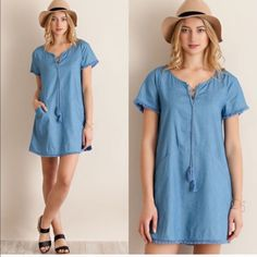 Denim Fringe Shift Dress AVAILABLE in SMALL, MED, LARGE  •Denim Shift Style Dress •Fringe Detail •Lace Up Tie •100% Cotton   SMALL: 36in B, 33in L     MED: 38in B, 34in L     LARGE: 40in B, 34in L  •••••••••••••••••••••••••••••••••••••••••••  Hello! I'm Monika. I'm a Boutique Owner & an Entrepreneur Mentor. Welcome to my closet!   Let's keep in touch  Instagram: @monikarosesf YouTube: MonikaRoseSF Snapchat: itsmonikarose Monika Rose SF Dresses