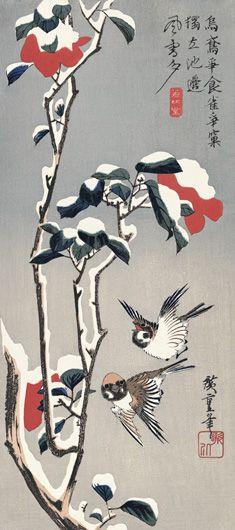 Hiroshige Utagawa  歌川広重「雪中椿に雀」