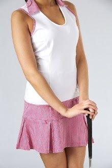 Drop waist pink and white golf dress...