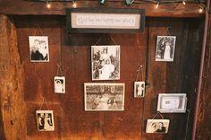 Vintage Wedding Photo Wall  (photo: Michelle Gardella Photography)
