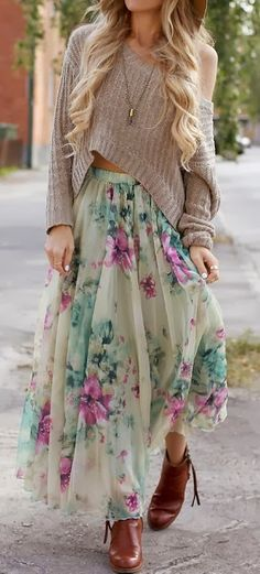 Flowery skirt with oversized cozy sweater and the big floppy hat, of course.