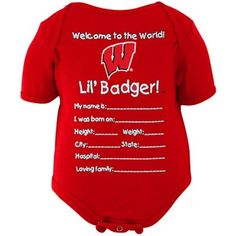 Wisconsin Badgers Two Tone Football NCAA College Newborn Infant Baby Creeper