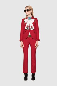 "How To Find (& Buy) The Perfect Pantsuit #refinery29  http://www.refinery29.com/womens-pantsuit#slide-4  What's an easy way to ""funk up"" a pantsuit?""I love playing around with a blouse and — I hate to say it now — a pussy bow. If you have a great blouse, even from a thrift store, you can get some ribbon from a fabric store and tie it in different ways around your neck in a bow or knot.""Gucci Single-breasted Wool Silk Jacket, $2,300, available at <a href=""..."