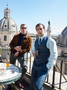 Henry cavill and armie hammer. Man from uncle. So damn handsome.