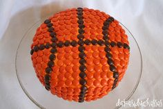 basketball cake made with Reese's Pieces