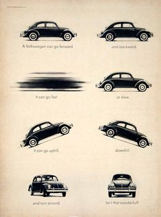 1963 Ad Vintage Volkswagen VW Beetle Bug Small Car Automobile Humorous Humor