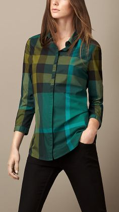 Awesome FREE SHIPPING Burberry Checkered Plaid Women Shirtblouse SL