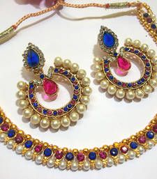 Black friday deals and offers mirraw Buy Pink and Blue Tilak Polki Necklace Set necklace-set online Antique Jewellery Online, Thread Jewellery, Jewellery Shops, Indian Necklace, Indian Jewelry, Necklace Set, Necklace Lengths, Bollywood Jewelry, Wedding Jewelry Sets