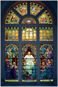 Tiffany-Style Stained Glass, Conserved by Conrad Schmitt Studios, Broad Street Presbyterian Church, Columbus, Ohio