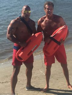 Having fun: David Hasselhoff posed shirtless in matching swimwear with Dwayne 'The Rock' J...
