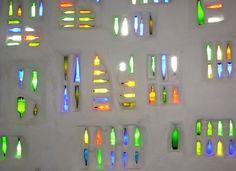 Hundertwasser, Austria. Glass bottle wall