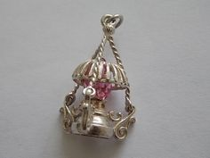 Vintage Silver Oil Lamp Glass Charm - GORGEOUS by BraceletstoBuckles on Etsy