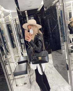 """Claire Chanelle CHOUQUETTE on Instagram: """"How cute is my new little micro CHANEL bag! I took it off the belt and clipped it to my vintage CHANEL bag. To see more about this new…"""""""
