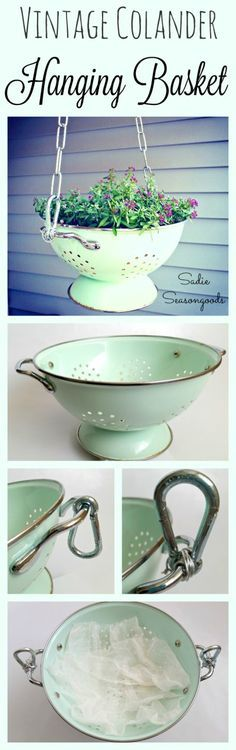 Upcycle and Repurpose a vintage enamel colander into a hanging flower basket planter! It's the perfect reuse for a colander with rust- it comes with natural drainage and it's easy to hang! Such an easy way to add cottage charm to your porch. #SadieSeasongoods / www.sadieseasongoods.com