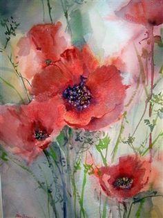 watercolor painting with a touch of pastels  Love poppies