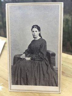 Antique CDV Photo 1800s Civil War era Woman Hartford Connecticut DeLamater