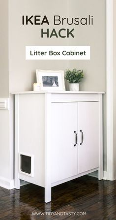 This IKEA hack, a litter box cabinet, is the perfect solution for both you and y. This IKEA hack, a litter box cabinet, is the perfect solution for both you and your furry little loved one. Hiding Cat Litter Box, Diy Litter Box, Hidden Litter Boxes, Litter Box Enclosure, Retro Furniture, Cat Furniture, Furniture Removal, Furniture Stores, Cat Litter Cabinet