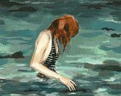 """""""Shallow Water"""" watercolor by Claire Elsaesser Female Images, Female Art, Redhead Art, Water Printing, Girl In Water, Figurative Art, Art Images, Fine Art Paper, Amazing Art"""