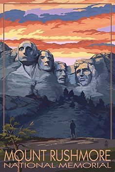 Mount Rushmore National Memorial, South Dakota - Sunset View SIGNED Print Master Art Print w/ Certificate of Authenticity - Wall Decor Travel Poster) -- Read more at the image link. (This is an affiliate link) Poster Retro, Poster S, Vintage Travel Posters, Poster Prints, Art Prints, Wpa Posters, National Park Posters, Us National Parks, Monte Rushmore