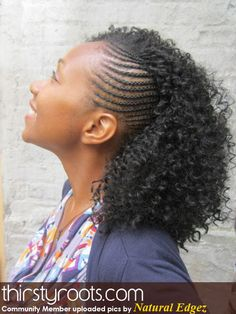 Braided Mohawk with Curls | kinky twists and braids | thirstyroots.com: Black Hairstyles and Hair ...