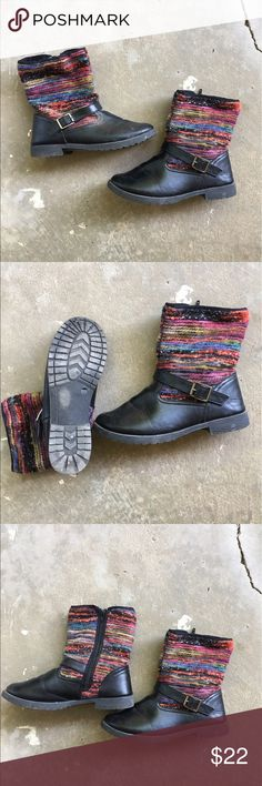 Striped boots Striped knit ankle boots.  Size 9. blue suede shoes Shoes Ankle Boots & Booties