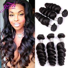 7A Unprocessed Malaysian Virgin Hair Loose Wave 3PCS Malaysian Lose Wave Human Hair Weave Bundles GEM Loose Curly Hair 8-30 1B
