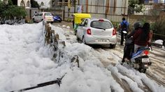 09/28/2015 - India Bangalore lake of toxic snowy froth