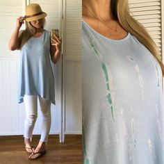 SOLD▪️Light Blue and Teal Tunic Brand New, tags attached. Size Large available. Modeling Large. Very soft, a silky soft.. Stretchy, high neck line and lays beautifully. 95% Rayon 5% Spandex. Price Firm. Tops Tunics
